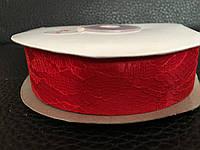 Атласная лента красная   с кружевом 2,5 см