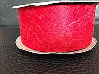 Атласная лента красная  с кружевом 4 см