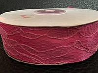 Атласная лента розовая   с кружевом 2,5 см