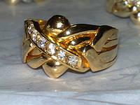 Золотое кольцо головоломка с Бриллиантом от WickerRing