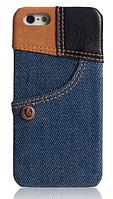 Уникальный чехол бампер для iPhone 5, 5S джинс синий