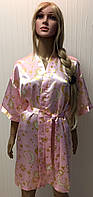 Короткий атласный халат