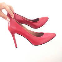 Стильные женские туфли - лодочка на шпильке из натуральной турецкой кожи Без застежки, Красный
