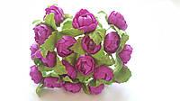 Пионы Пурпурные с бусиной Декоративный букетик 1.5 см 10 шт/уп