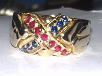 Золотое кольцо с Сапфиром и Рубином WickerRing