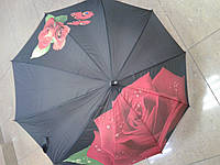 Зонт трость женская роза 3Д на чёрном фоне