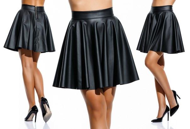 """Женская стильная короткая юбка 046 """"Кожа Клёш"""" в расцветках"""