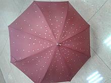 Зонт трость женская бордовая украшена камнями
