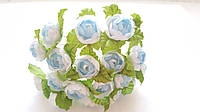 Пионы Бело-голубые с бусиной Декоративный букетик 1.5 см 10 шт/уп