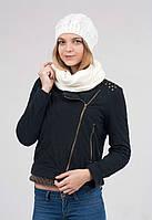 Вязанная женская белая шапка и хомут