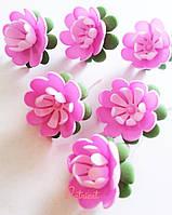 Цветы Кувшинка Рзовая из фоамирана (латекса) 3 см 10 шт/уп