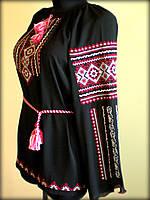 """Вишиванка жіноча  """"Вишита доля"""" на чорному шифоні, блуза вишита білими та червоними нитками, машинна вишивка"""