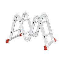 Лестница алюминиевая мультифункциональная трансформер 4*2 ступ. 2.50м, INTERTOOL LT-0028