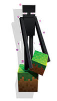 Наклейка на стену Майнкрафт - Эндермен с блоком травы