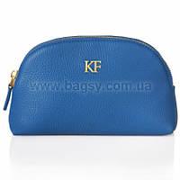 Женская кожаная косметичка Katerina Fox синего цвета из натуральной кожи (KF-278)