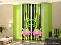 Панельная штора Орхидеи и бамбук 3 комплект 4 шт