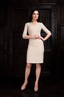 Платье трикотажное беж с вырезом на груди длина до колена