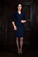 Платье трикотажное темно синее с вырезом на груди длина до колена