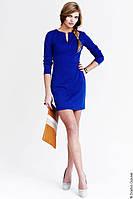 Платье трикотажное синий электрик с вырезом на груди длина 85 см