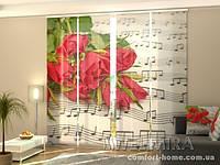Панельная штора Розы и ноты комплект 4 шт