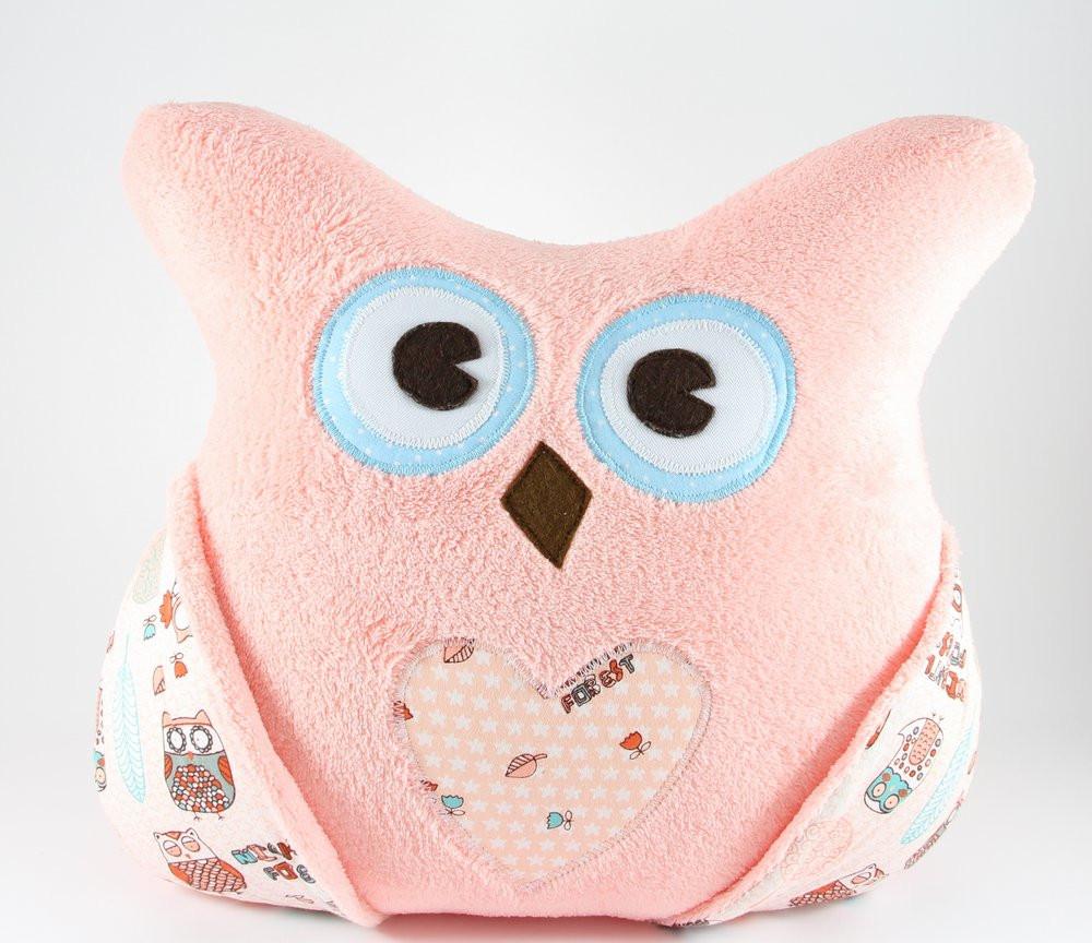 Детская плюшевая подушка с кармашками «Сова» (Коралл), Sunny Bunny