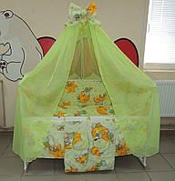 Комплект постельного белья для новорожденного  салатовое Мишки горох Gold 9 в 1
