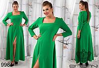 Женское однотонное платье в пол с отрезной талией и клешеной юбкой