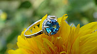 Серебряное кольцо серебряное с золотой вставкой, фото 1