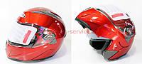 Шлем закрытый с откидным подбородком+очки HF-118 М- КРАСНЫЙ