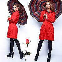 Классический женский  Плащ  на пуговицах  L  22757  Красный, фото 1