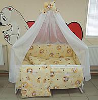 Детское постельное белье бежевое Зайчик пуговица Bonna 9 в 1