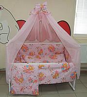 Комплект детского постельного белья розовое Мишка пчелки  луна Bonna 9 в 1