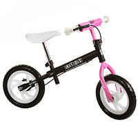 """Біговел дитячий 12"""" M 3141-2 PROFI KIDS колеса EVA, пласт. обід, гальмо, чорно-рожевий"""