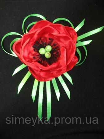 """Брошь """"Красный мак"""" из атласной ленты (также можно крепить на повязку, заколку).Можно в другом цвете"""