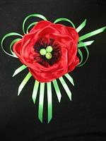"""Брошь """"Красный мак"""" из атласной ленты (также можно крепить на повязку, заколку).Можно в другом цвете, фото 1"""