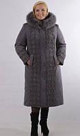 Зимнее женское плащевое пальто