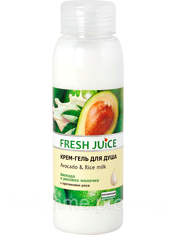 Крем-гель для душа Avocado & Rice milk Fresh Juice Эльфа (Украина) 300 мл