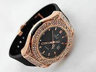 Женские часы HUBLOT - Geneve cristal, черный каучуковый ремешок, кристалы, фото 1