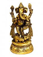 Статуэтка бронзовая Ганеш стоит на мышке