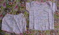 Комплект (кофточка и шортики) белый с розовым кантом, возраст 6-12 мес