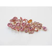 Красивая брошка с розовыми камнями 11х5 см