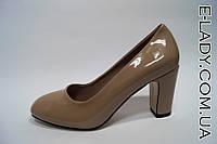 Лаковые серые туфли на маленьком устойчивом каблучке