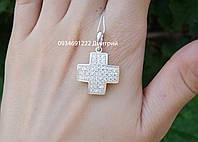 Серебряный крестик с камнями арт.411000