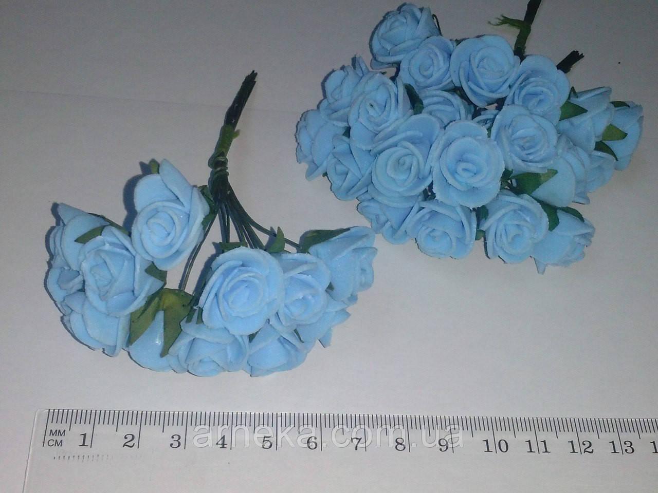 Розы латексные 1,5-2 см (12 шт)  голубые