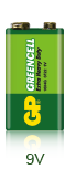 Батарейка солевая GP greencell 6F22