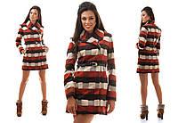 Бордовое кашемировое модное пальто в клетку с карманами.  Арт-0967/16