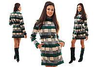 Зеленое кашемировое модное пальто в клетку с карманами.  Арт-0967/16