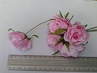 Роза из ткани 4-5 см розовая (цена за 1 цветок)