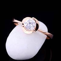 Золотое помолвочное кольцо солитер Роза, 585 пробы