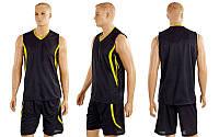 Форма баскетбол. мужск. без номера CO-3864-BK (PL, р-р M-XL, черный)